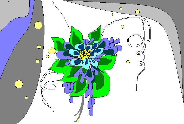Fleures (franz. für Blumen): Die Zeichnung wurde von meiner Frau gemalt und bewusst nicht fertiggestellt. Manchmal fängt man an und hört dann einfach auf - wie beim ADHS!